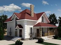 Дом из кирпича 10 на 10 с верандой