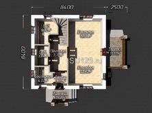 Дом 8 на 8 с крыльцом из газобетона