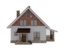 Дом из кирпича 8 на 8 с крыльцом