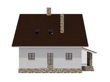 Дом 8 на 8 из пеноблоков с крыльцом