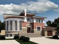Дом из кирпича 19 на 16 с террасой